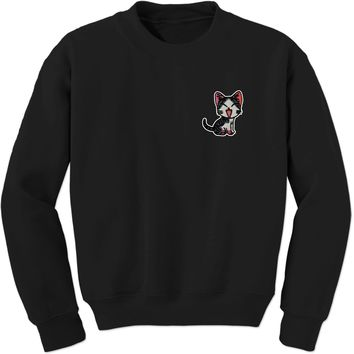 Embroidered Red Cat Patch (Pocket Print) Adult Crewneck Sweatshirt
