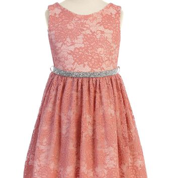 Coral Pink Stretch Floral Lace Dress with Belt Girls Plus 14.5-20.5