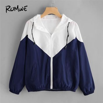 ROMWE Spring Autumn Fashion Two Tone Hooded Jacket Drawstring  Zipper Casual Long Sleeves Chevron Coats Outwears
