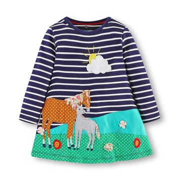 3-8T Girl Dress Brand Kids Clothes Knitted cotton embroidery horse Clothing baby girls long sleeve unicorn Dress for Christmas