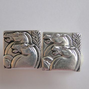 Hickok, Art Deco cuff links. Horse head cufflinks.  Men's gift