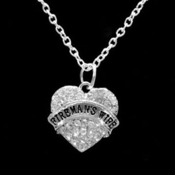 Crystal Fireman's Wife Firefighter Fire Wife Gift Pendant Necklace