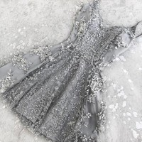 Gray Appliques A-Line Sweetheart Homecoming Dress