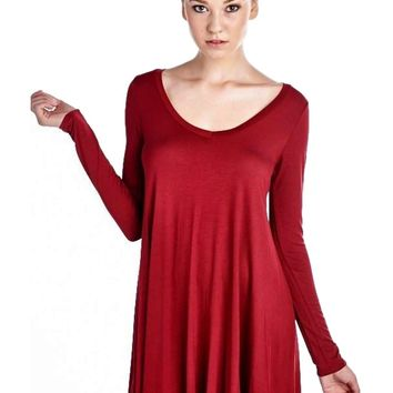 Long Sleeve Flared Tunic Dress, Tango Red (Size S)