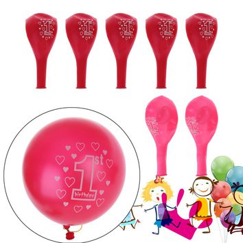 10pcs Girls Boys Printed 1st Ballons for New Baby Birthday Party Decoration Pearlised Balloons DIY Baby Shower Supplies