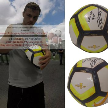 Jordan Morris Autographed Nike 2017 Gold Cup Logo Soccer Ball with USA Gold GWG Inscription, United States Mens National Team, Seattle Sounders FC, Proof Photo