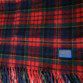Pendleton wool blanket / red blue green yellow / vintage picnic blanket / antique camping blanket / throw / Autumn / cozy Fall / fringe / RV
