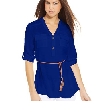 BCX Juniors' Belted Shirt Tunic