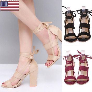 Womens Ladies High Block Heel Open Peep Toe Lace Up Sandals Party Shoes US Sale