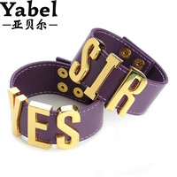 Yabel 9 Styles Suicide Squad Yes Sir Letter Bracelets Purple Harley Quinn Leather Prop Wristband Bracelet for Halloween Cosplay