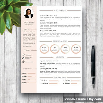 Resume Template With Photo + Cover Letter / CV Template Word (US Letter, A4), Professional, Creative, Simple Resume, Instant Download Resume