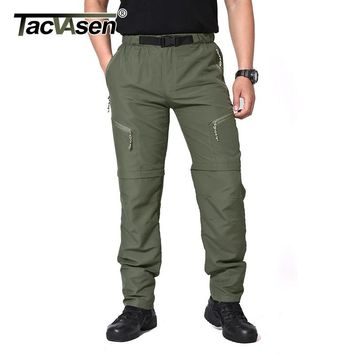 TACVASEN Men Brand Travel Pants Removable Quick Drying Pants Male Summer Casual Short Pants Breathable Cargo Pants TD-SMMD-002