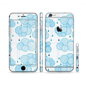 The White and Blue Raining Yarn Clouds Sectioned Skin Series for the Apple iPhone 6