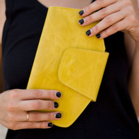 Free shipping, Yellow Leather Wallet, leather clutch, ready to ship, gift for her, women wallet, on sale