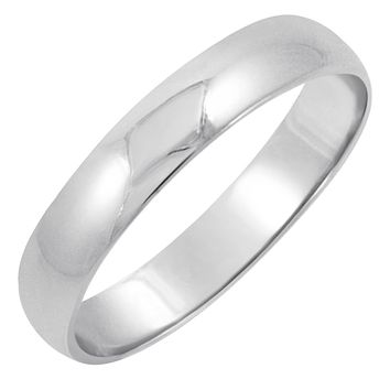 Men's 10K White Gold 4mm Traditional Fit Plain Wedding Band (Available Ring Sizes 7-12 1/2)