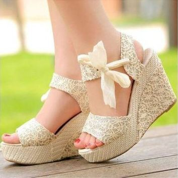 DCCKCO2 Summer Womens Sweet High Heel Wedge Platform Sandals Bowknot Ankle Shoes Beige