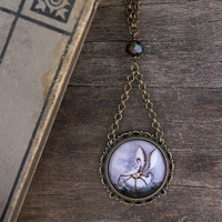 Fairy Necklace, Enchanted jewelry, Wearable Art Pendant, Fairy tale jewelry, Magical fairy pendant, Shell photo jewelry, Glass dome necklace
