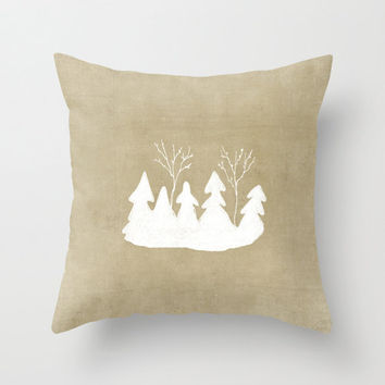 Winter White Illustrated Tan Decorative Pillow Cover Home Decor Throw Pillow Cover Holiday Home Accessory Beige Accent Pillow