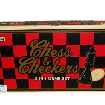 Classic Chess and Checkers 2 in 1 Game Set