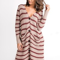 Cafe Society Striped Cardigan (Red Bean)