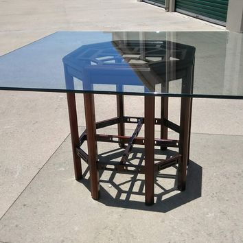 #2586 - Dining Table with Glass Top - Brown