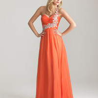 Coral Chiffon Embellished One Shoulder Empire Waist Prom Dress - Unique Vintage - Cocktail, Pinup, Holiday & Prom Dresses.