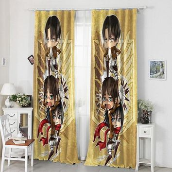 Cool Attack on Titan Home Decoration  Anime Eren Mikasa Rivaille 120*200CM Milk Fiber Fabric Window Curtain #40817 AT_90_11