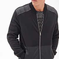 Faux Leather Panel Bomber Jacket