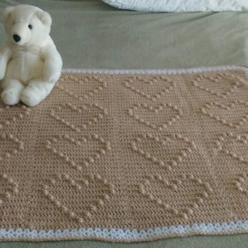 Crochet Baby Blanket Neutral Tan & White Heirloom Handmade Afghan Crocheted Throw Lap or Baby Blanket Brown