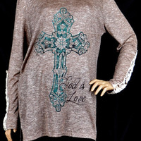 Cross God is Love Knit Tunic Top -Southern Grace