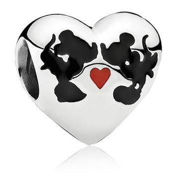 Mickey Mouse Minnie Mouse European Kiss Love Heart Cartoon Charm Beads Charm Fit Wome