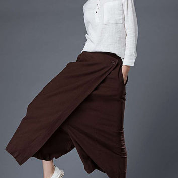Brown Summer Culottes – Classic Elegant Linen Wide-Legged Made-To-Measure Woman's Pants (C862)