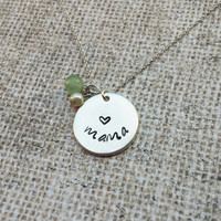 Mama Necklace - Hand Stamped Necklace for Mom - Rustic Jewelry with pearl and aquamarine stone