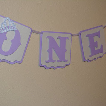 ONE birthday banner, lavender princess banner, highchair banner