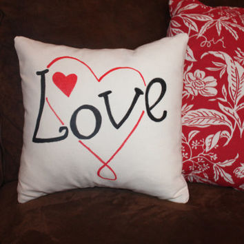 Cotton Pillow Cover, Love, Hearts, Insert Included