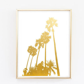 palm trees faux gold foil print travel wall art palm tree art beach art quote print tumblr room decor framed quotes paradise quote teen