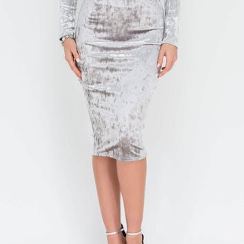Little Crush Velvet Bodycon Skirt GoJane.com