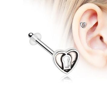 Antique Heart Lock Piercing Stud with O-Rings