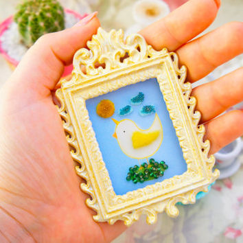 Lavinia fenton unique petit 3D chickencorn sewed illustration with vintage bronze frame (hand painted) fine art
