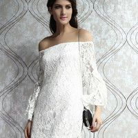 White Cream Lace wedding Off-The-Shoulder Mini Dress , women's long sleeve casual dress (Size: M, Color: White)