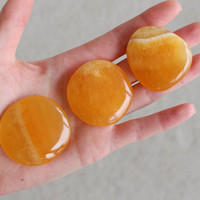 Orange Calcite Palm Stone/ Worry Stone