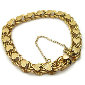 Signed Elco 1/20 12KGF 12K Gold Filled Double Chain Link Heart Charm Bracelet with Safety Chain - Textured and Smooth Gold - Vintage