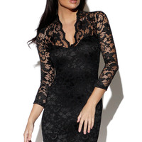 Black Lace Dress with V-Neck