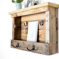 Wood Mail Organizer - Entryway Coat Hooks - Mail Storage - Key Holder - Mail and Key Holder - Organizer - Pallet Furniture - Letter Holder