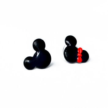 Mickey and Minnie Mouse earring studs - polymer clay earrings