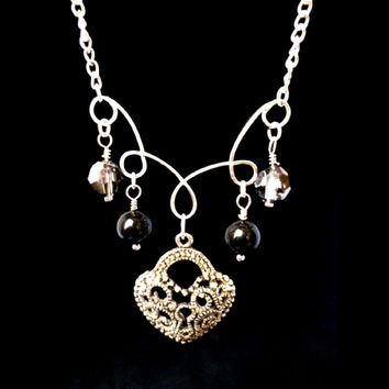 Silver Antique Heart Charm Necklace