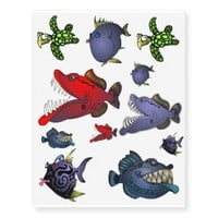 Fish With Attitude Collection by Mike Quinn Temporary Tattoos