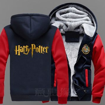 New Harry Potter Hoodie Coat Jacket Winter Men Thick Zipper Sweatshirt