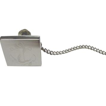 Silver Toned Etched Nautical Roped Anchor Tie Tack