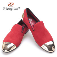 new Red color velvet Handmade men shoes with Gold toe and back metal Fashion Party and Banquet loafers male's flats
